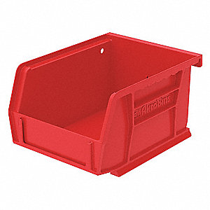 "Hang and Stack Bin, Red, 5-3/8"" Outside Length, 4-1/8"" Outside Width, 3"" Outside Height"