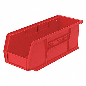 "Hang and Stack Bin, Red, 7-3/8"" Outside Length, 4-1/8"" Outside Width, 3"" Outside Height"