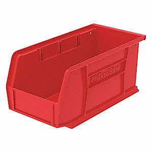 Hang/Stack Bin,10-7/8 x 5-1/2 x 5,Red