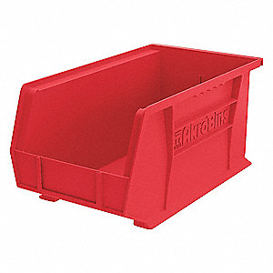 "Hang and Stack Bin, Red, 14-3/4"" Outside Length, 8-1/4"" Outside Width, 7"" Outside Height"