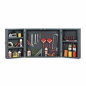 "Workshop Tools and Parts Cabinet, 24"" Overall Height, 30"" Overall Width, Number of Shelves 3"