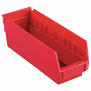 "Shelf Bin, Red, 4""H x 11-5/8""L x 4-1/8""W, 1EA"