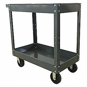 Steel Flat Handle Deep Shelf Utility Cart, 400 lb. Load Capacity, Number of Shelves: 2