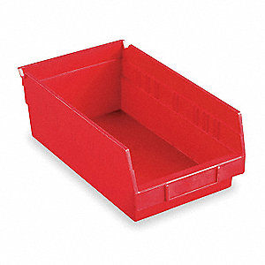 "Shelf Bin, Red, 4""H x 23-5/8""L x 6-5/8""W, 1EA"