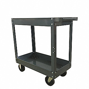 Steel Flat Handle Deep Shelf Utility Cart, 800 lb. Load Capacity, Number of Shelves: 2