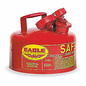 1 gal. Type I Safety Can, Used For Flammables, Red&#x3b; Includes Trigger Grip Handle, Squeeze, Pour Spou