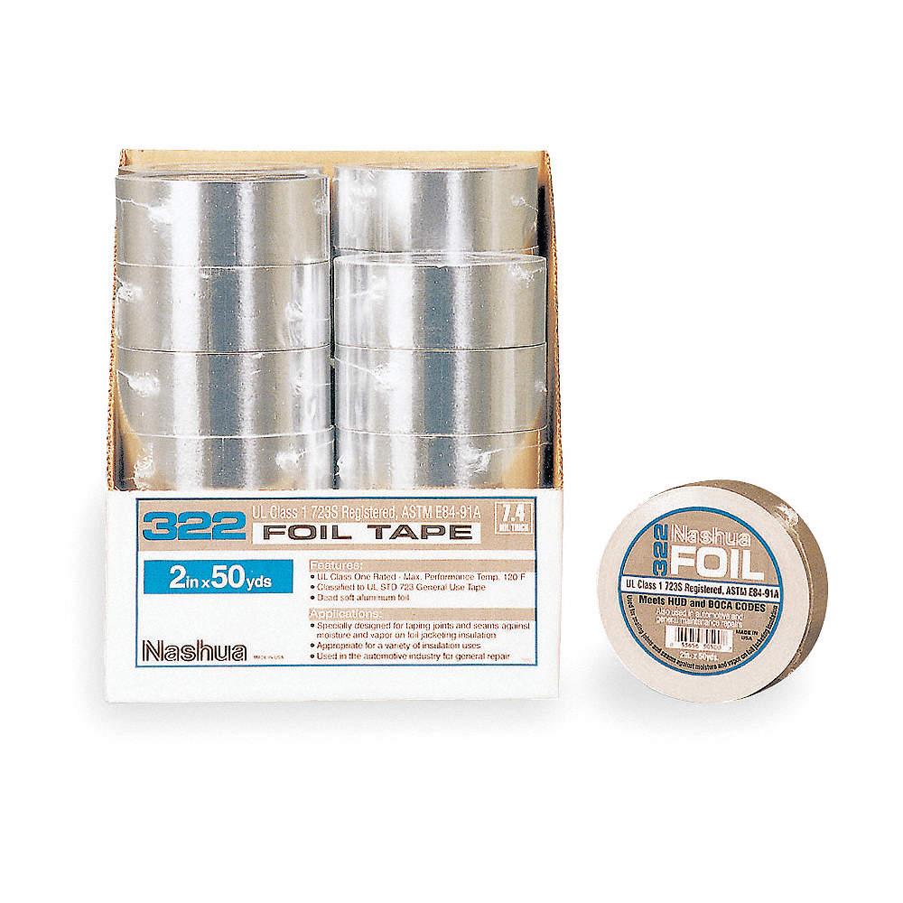 Aluminum Foil Tape, Rubber, 5 00 mil Thick, 48mm X 46m, Silver, 1 EA