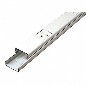 Prewired Raceway, Ivory, 15 Amps, Number of Outlets: 12, 6 ft. Length