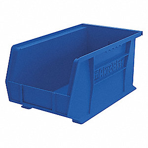 "Hang and Stack Bin, Blue, 14-3/4"" Outside Length, 8-1/4"" Outside Width, 7"" Outside Height"