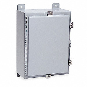 "20""H x 16""W x 8""D Metallic Enclosure, Gray, Knockouts: No, Padlockable Hasp Closure Method"