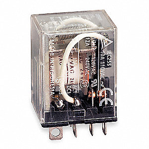 Plug In Relay, 8 Pins, Square Base Type, 10A @ 120VAC/24VDC Contact Rating, 12VDC Coil Volts