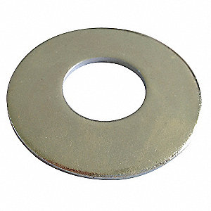 "#4x5/16"" O.D., Flat Washer, Stainless Steel, 18-8, Plain, PK100"