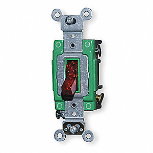 Pilot Light Wall Switch, Switch Type: 2-Pole, Switch Function: Maintained, Style: Toggle