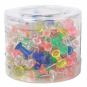 "Transparent Assorted Push Pins, 3/4"" Length"