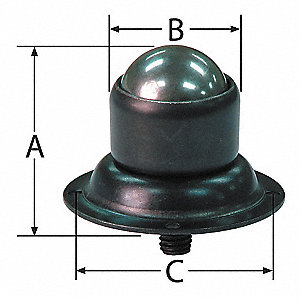 "-"" x -"" x 1-1/2"" Black Oxide Steel Flange/Threaded Stud with 150 Lb. Working Load Limit"