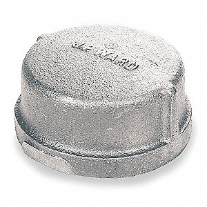 "Galvanized Malleable Iron Cap, 2-1/2"" Pipe Size, FNPT Connection Type"