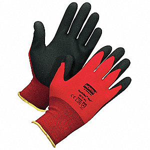 Coated Gloves,XS,Black/Red,PR