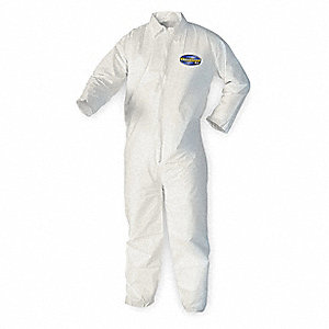Collared Disposable Coveralls with Elastic Cuff, White, XL, Microporous Film Laminate