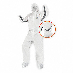 Hooded Disposable Coveralls with Elastic Cuff, White, XL, SMS