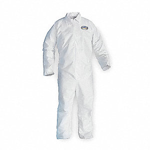 Disposable Coveralls with Open Cuff, White, 2XL, Microporous Film Laminate