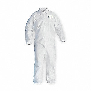 Collared Disposable Coveralls with Elastic Cuff, White, L, Microporous Film Laminate