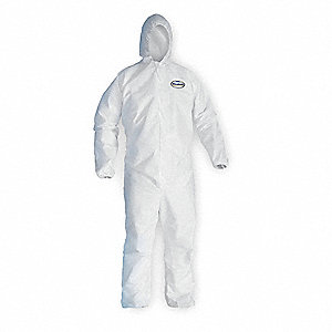 Hooded Coverall,Elastic,White,2XL,PK25