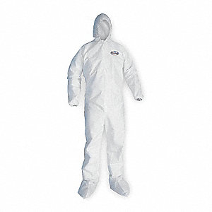 Hooded Disposable Coveralls with Elastic Cuff, White, L, Microporous Film Laminate