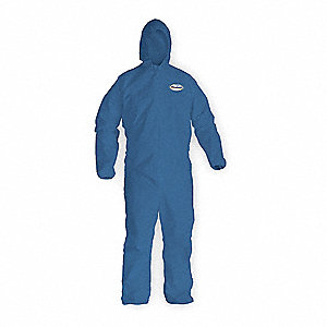 Hooded Coverall,Elastic,Blue,2XL,PK24