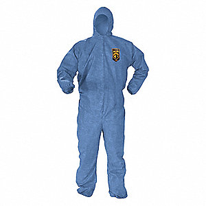 Hooded Chemical Resistant Coveralls with Elastic Cuff, Microporous Film Laminate Material, Blue, L