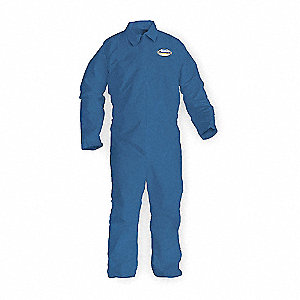 Collared Coverall,Open,Blue,3XL,PK20