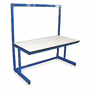 "Ergonomic Workbench, 72"" Length, 30"" Width, ESD Laminate  Pull-Pin"