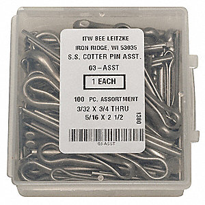 18-8 Stainless Steel Pin Assortment with Plain Finish&#x3b; Number of Pieces: 100