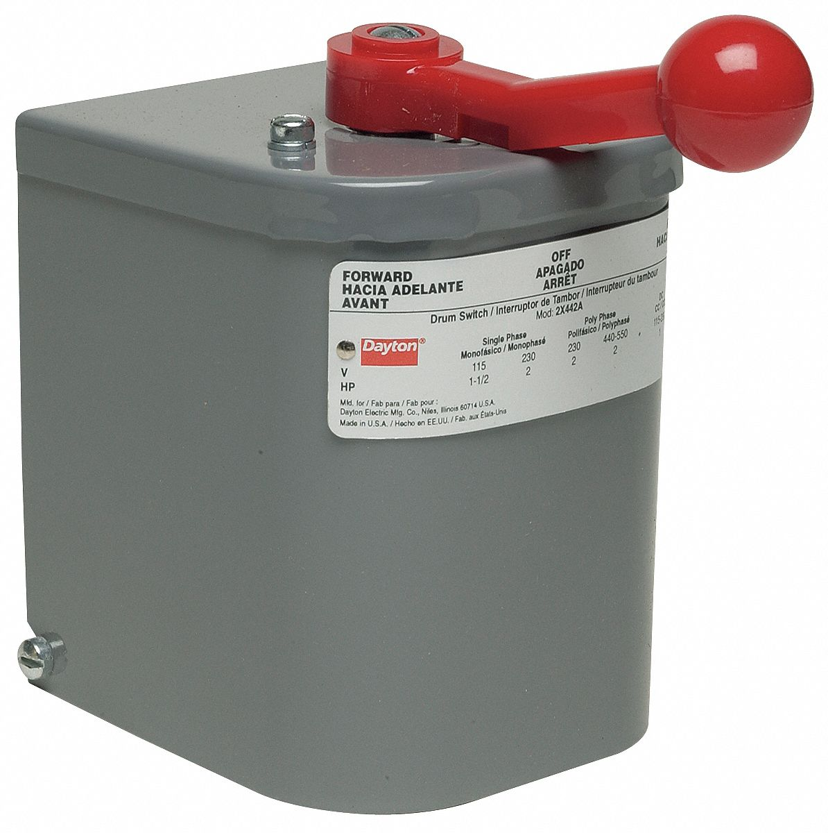 Dayton Maintained Reversing Plastic Drum Switch 3 Pole Nema Rating Wiring For Motor On Phase Forward Reverse 1 2x442 Grainger