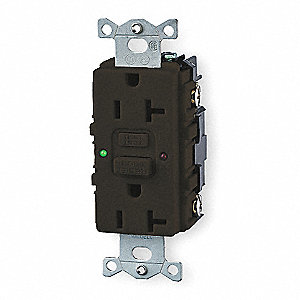 HUBBELL WIRING DEVICE-KELLEMS Receptacle,GFCI,20 Amp,120 V,5-20R ...