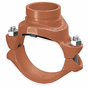 "8"" x 2-1/2"" Nominal Size Ductile Iron Clamp with Grooved Branch"
