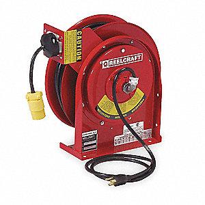 Red Retractable Cord Reel, 13 Max. Amps, Cord Ending: Single Industrial Connector