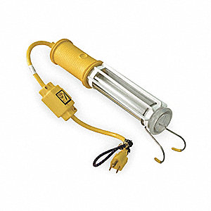 "Fluorescent Hand Lamp, 13 Lamp Watts, 1 ft. 6"" Cord Length, Yellow, Includes Outlet"
