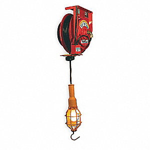 75 Watt Incandescent Steel Extension Cord Reel with Hand Lamp, Red