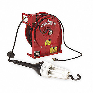 13 Watt Fluorescent Lamp Extension Cord Reel with Hand Lamp, Steel, Red