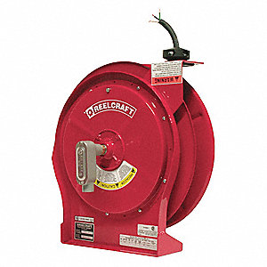 Red Retractable Cord Reel, 30 Max. Amps, Cord Ending: Flying Lead, 50 ft. Cord Length