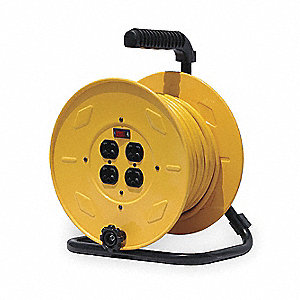 Yellow Hand Wind Cord Reel, 10 Max. Amps, Cord Ending: Quad Receptacle On Reel