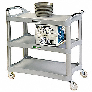 "42"" x 20"" x 37-1/2"" Polyethylene, Aluminum Utility Cart with 500 lb. Load Capacity, Light Gray"