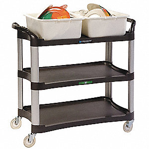 "42"" x 20"" x 37-1/2"" Polyethylene, Aluminum Utility Cart with 500 lb. Load Capacity, Charcoal"