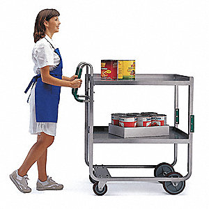 "41-3/8"" x 21-5/8"" x 46-3/4"" Stainless Steel Utility Cart with 1000 lb. Load Capacity, Silver"