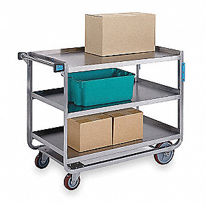 Utility Cart,Stainless Steel,3 Shelves