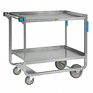 "39"" x 22-3/4"" x 37-3/8"" Stainless Steel Utility Cart with 1000 lb. Load Capacity, Silver"