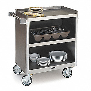 "39-5/16"" x 22-1/2"" x 37"" Stainless Steel Bussing Cart with 700 lb. Load Capacity, Silver"