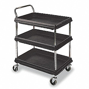 High Density Polyethylene Raised Handle Utility Cart, 400 lb. Load Capacity, Number of Shelves: 3