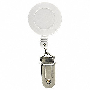 Retractable Reel w Clamp,White,PK5