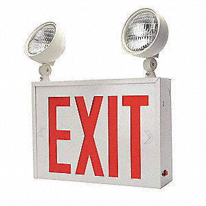 1 Face LED Exit Sign with Emergency Lights, White Steel Housing, Red Letter Color